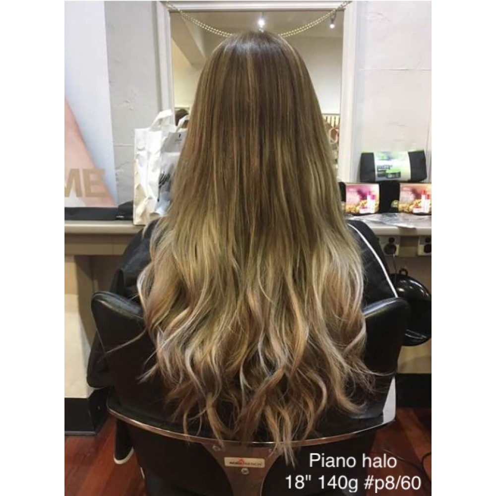 Piano Chestnut Brown And Platinum Blonde Flip In Halo Hair Extension