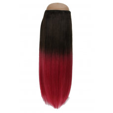 Ombré Dark Brown to Raspberry #2/118 Halo Hair Extension