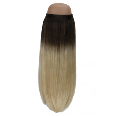 Ombré Dark Brown to Platinum Blonde #2/60 Halo Hair Extension